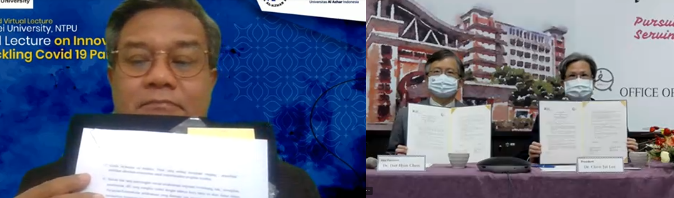 From Taipei With Love : University Al Azhar Of Indonesia And National Taipei University Forged Linkages Through Virtual MoU Signing  And Joint Virtual Lecture