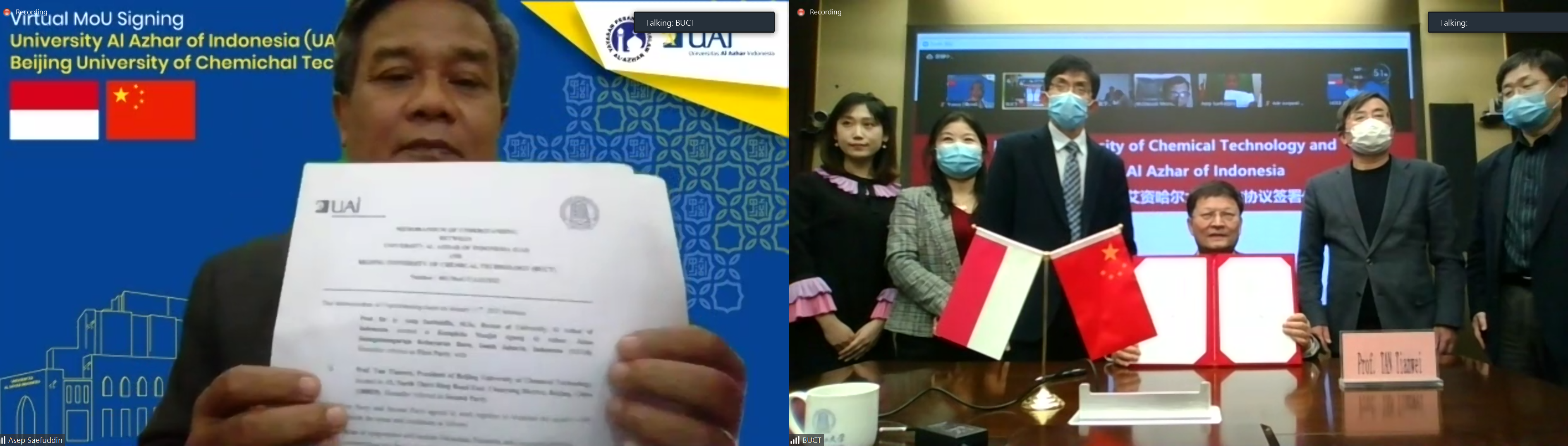 From Beijing With Love : University Al Azhar Of Indonesia And Beijing University Of Chemichal Technology Established Official Cooperation Via Virtual MoU Signing