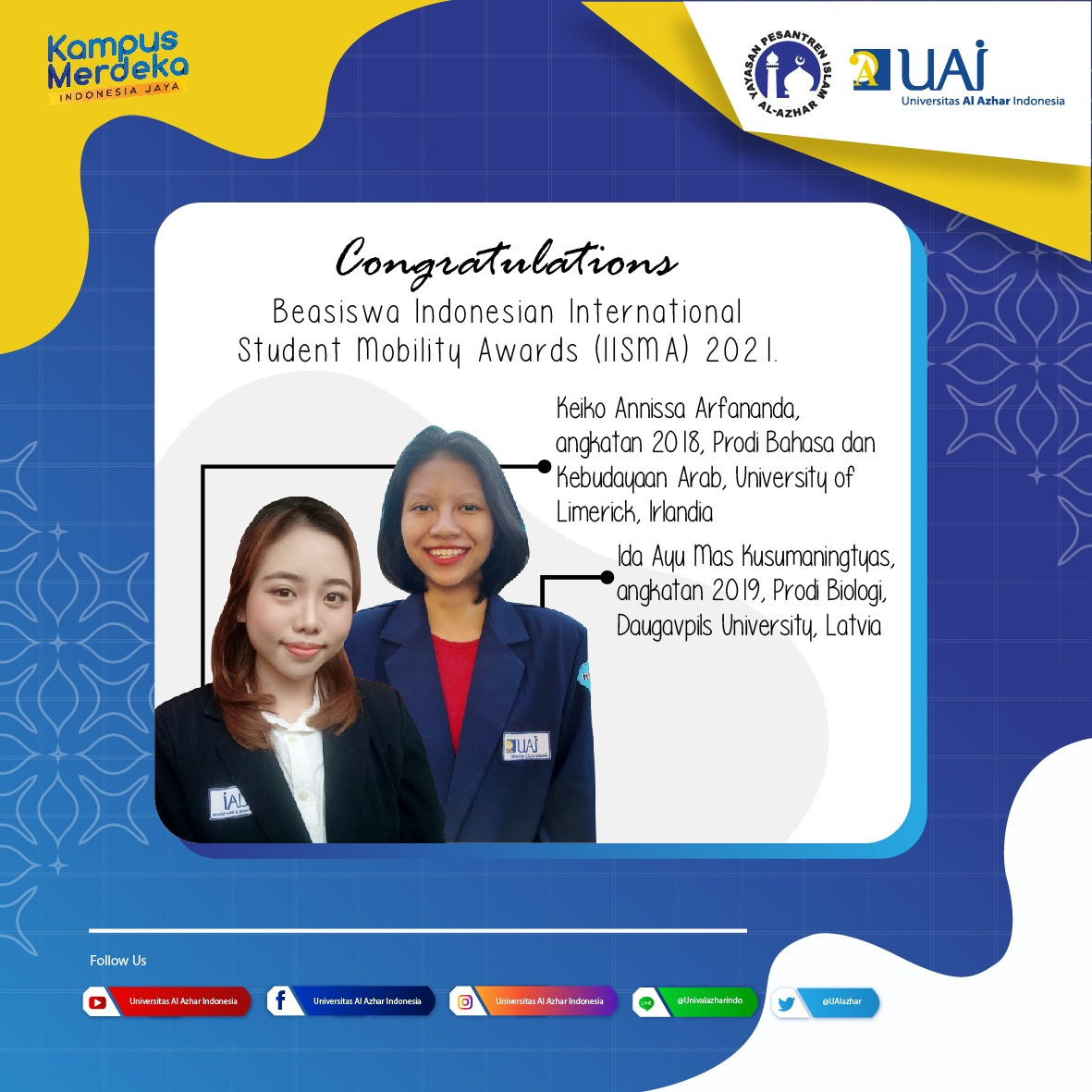 From 2000 Indonesia Applicants, 2 UAI Students Achieve IISMA 2021 Scholarships To Study Abroad In Prominent Universities